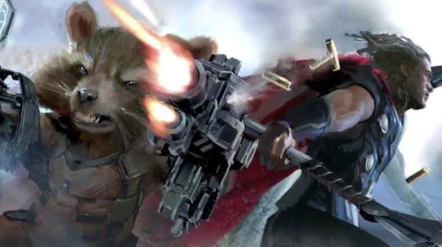Rocket Raccoon and Thor in <em>Infinity War</em> concept art (Credit: Marvel Studios)