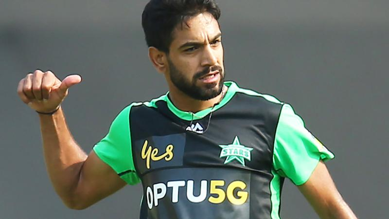 Haris Rauf, pictured here celebrating a wicket during the Melbourne Stars' clash with Sydney Thunder.