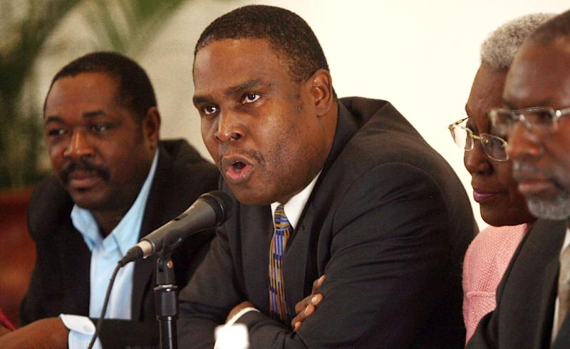 Jean Henry Ceant (speaking) will be Jovenel Moise's second prime minister if approved