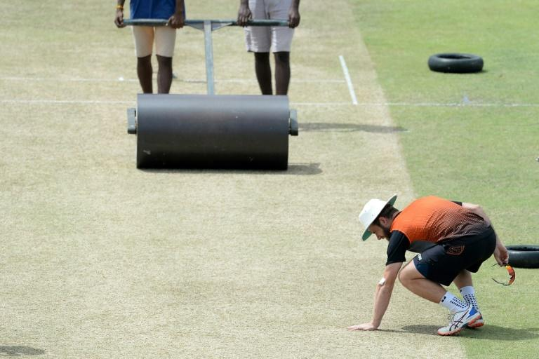 New Zealand captain Kane Williamson inspects the pitch during a practice session at the P. Sara Oval stadium in Colombo ahead of the second Test (AFP Photo/LAKRUWAN WANNIARACHCHI)