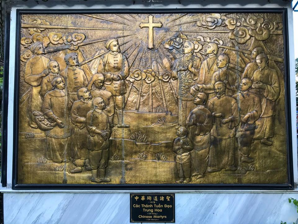 """<span class=""""caption"""">Memorial plaque for the 120 Martyr Saints of China at St. Francis Xavier Church in Ho Chi Minh City, Vietnam.</span> <span class=""""attribution""""><a class=""""link rapid-noclick-resp"""" href=""""https://upload.wikimedia.org/wikipedia/commons/6/60/Martyr_Saints_of_China.jpg"""" rel=""""nofollow noopener"""" target=""""_blank"""" data-ylk=""""slk:Fayhoo/Wikimedia"""">Fayhoo/Wikimedia</a>, <a class=""""link rapid-noclick-resp"""" href=""""http://creativecommons.org/licenses/by-sa/4.0/"""" rel=""""nofollow noopener"""" target=""""_blank"""" data-ylk=""""slk:CC BY-SA"""">CC BY-SA</a></span>"""