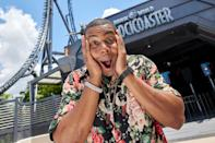 <p>Kenan Thompson tries out the all-new Jurassic World VelociCoaster on opening day at Universal Orlando Resort's Islands of Adventure theme park on June 10.</p>