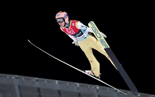 Ski Jumping World Cup - Men's HS134 Qualification - Holmenkollen, Oslo, Norway - March 9, 2018. Stefan Kraft of Austria is seen during official training. NTB Scanpix/Terje Bendiksby via REUTERS ATTENTION EDITORS - THIS IMAGE WAS PROVIDED BY A THIRD PARTY. NORWAY OUT. NO COMMERCIAL OR EDITORIAL SALES IN NORWAY.