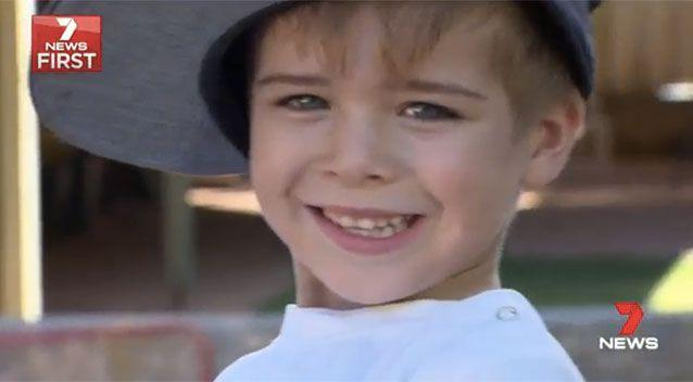 Five-year-old Tyler said he was pretty happy with his hiding spot. Picture: 7 News