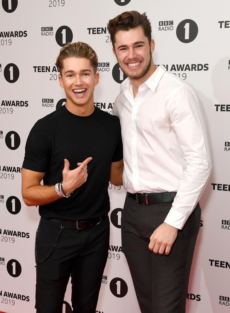 "File photo dated 24/11/19 of brothers AJ Pritchard (left) and Curtis Pritchard. Curtis has said he wants his brother AJ to do ""as many trials as humanly possible"" while he is in the I'm A Celebri...Get Me Out Of Here! castle and hopes to see him ""cry, scream, maybe throw up""."