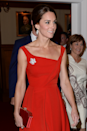 <p>Kate wore a dress reminiscent of Diana's in September 2016 for a reception in Canada. The main differences between the two looks are the asymmetrical neckline on Kate's dress and the addition of the maple leaf brooch. Oh, and Kate the fact that went tiara-free. </p>