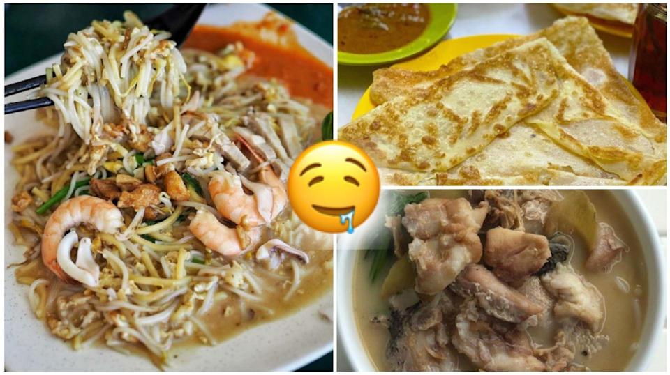 PHOTOS: INSTAGRAM/@MIGHTYFOODIE (HOKKIEN MEE), @LINGOMANIA2021 (PRATA) AND @DABAODIARY (SLICED FISH NOODLE SOUP)