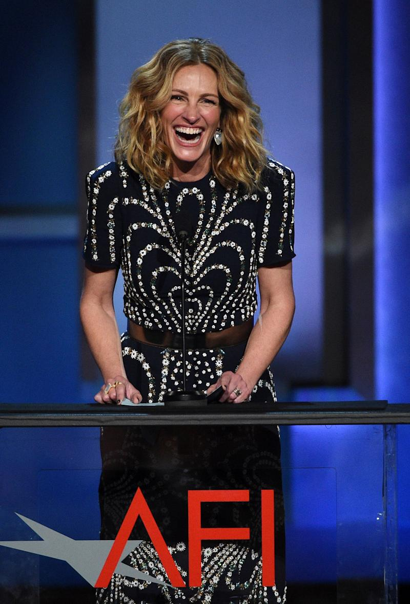 Actress Julia Roberts speaks from the stage during the 47th AFI Life Achievement Award ceremony honoring actor Denzel Washington at the Dolby Theatre, Thursday, June 6, 2019, in Los Angeles. (Photo by Chris Pizzello/Invision/AP)