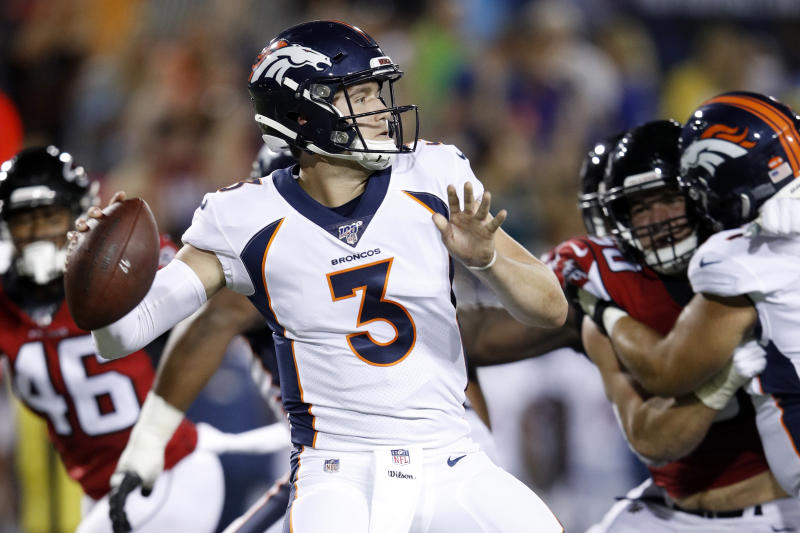 Broncos rookie Drew Lock got his first taste of NFL action on Thursday. (Getty)