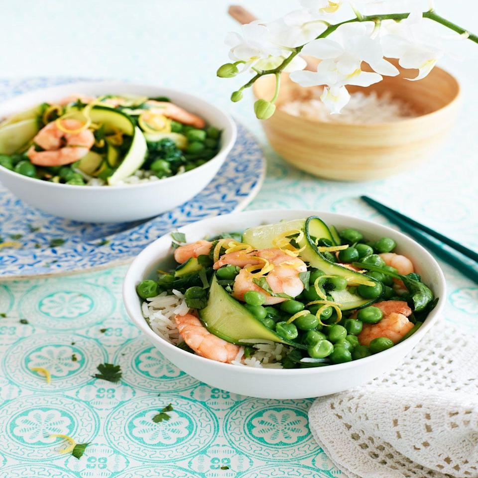 """<p>Create courgette ribbons, and add colour and bulk to your stir-fry.</p><p><strong>Recipe: <a href=""""https://www.goodhousekeeping.com/uk/food/recipes/a560286/tasty-courgette-summer-recipes-1/"""" rel=""""nofollow noopener"""" target=""""_blank"""" data-ylk=""""slk:Courgette and prawn stir fry"""" class=""""link rapid-noclick-resp"""">Courgette and prawn stir fry</a></strong></p>"""