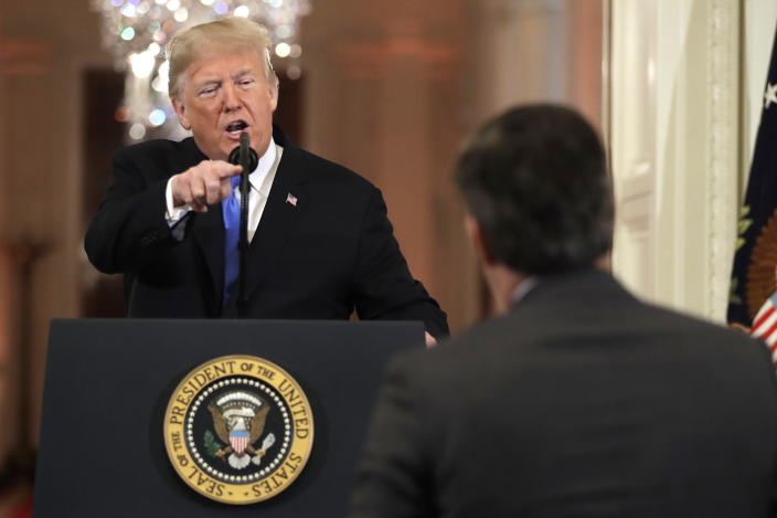 President Trump speaks during a news conference in the East Room of the White House on Wednesday. (Photo: AP/Evan Vucci)
