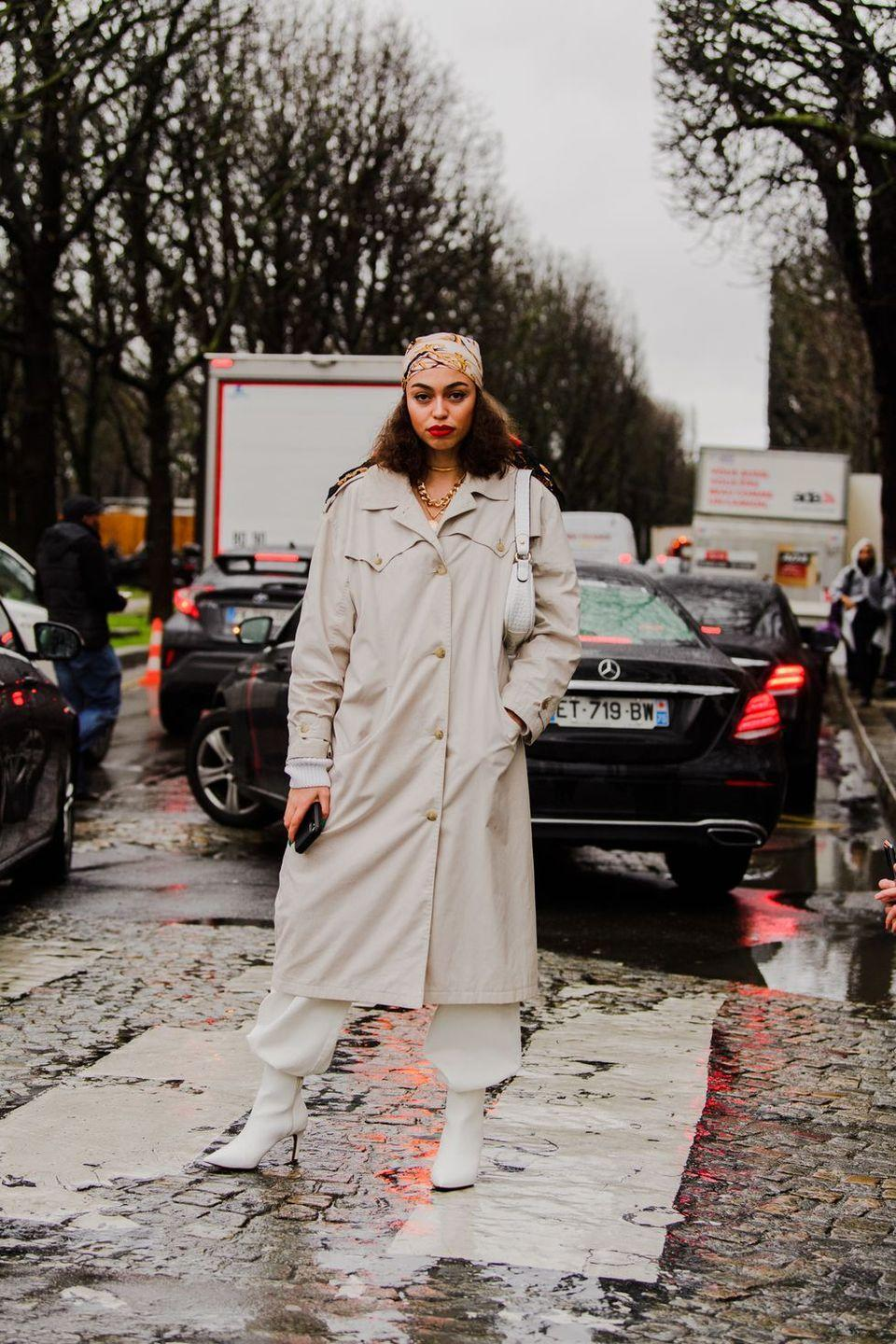 <p>The little white bag is a must—especially when paired effortlessly with matching little white boots and a killer headscarf and trench.</p>