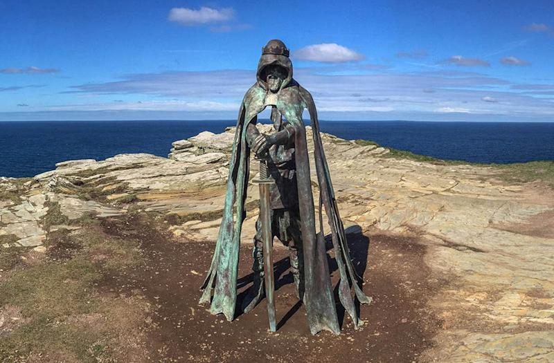 A statue of King Arthur at Tintagel: Getty