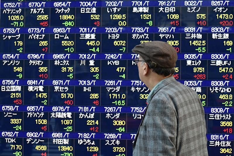 Market fluctuations came after a tepid lead from Wall Street, where the Dow fell from a record high after a seven-day winning run (AFP Photo/Kazuhiro Nogi)