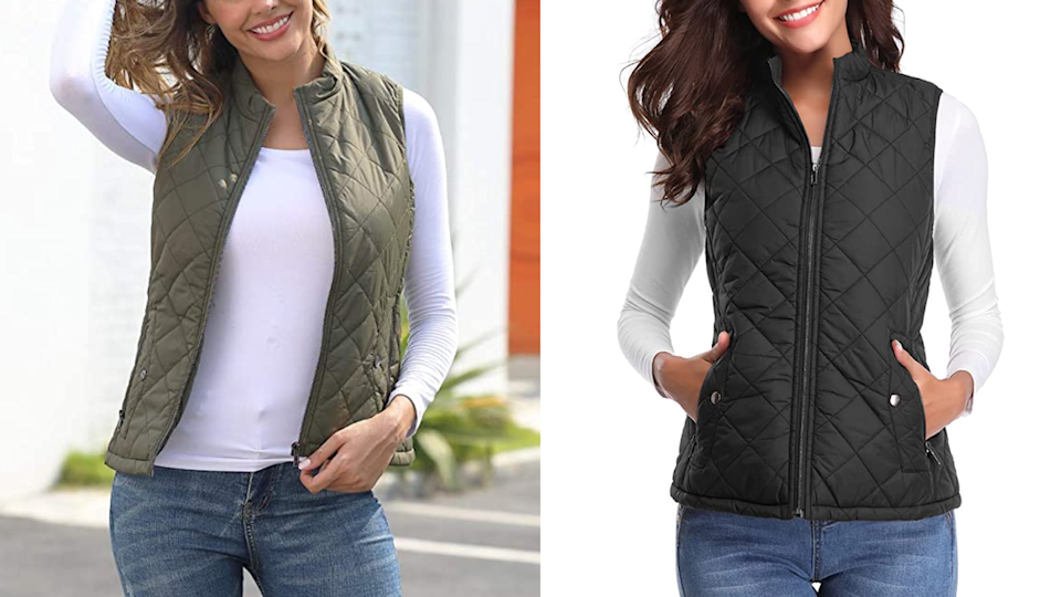 Add this quilted puffer vest to your fall outerwear rotation.
