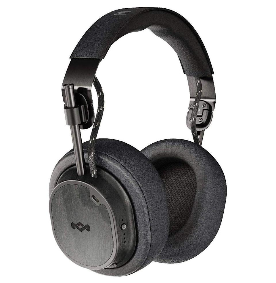 """<p><strong>House of Marley</strong></p><p>amazon.com</p><p><strong>$249.99</strong></p><p><a href=""""https://www.amazon.com/dp/B07SQ25R45?tag=syn-yahoo-20&ascsubtag=%5Bartid%7C10054.g.33338048%5Bsrc%7Cyahoo-us"""" rel=""""nofollow noopener"""" target=""""_blank"""" data-ylk=""""slk:Buy"""" class=""""link rapid-noclick-resp"""">Buy</a></p><p>House of Marley's contenders have attitude to them: like an old AM radio receiver crossed with a '70s record player, with pads that fully engulf your ears without crushing your lobes, though the headband can feel tight after an extended listening session. The ANC switches on and off, and the audio itself is bass-rich and clear, but neither is the absolute greatest you can find. Beyond that, the controls are tactile and intuitive, the battery life is excellent, and the materials that give this pair its distinctive look are recycled and sustainably sourced. Gotta love that.<br><br><em>Battery life: 28 hours with ANC, 80 hours without ANC</em></p>"""