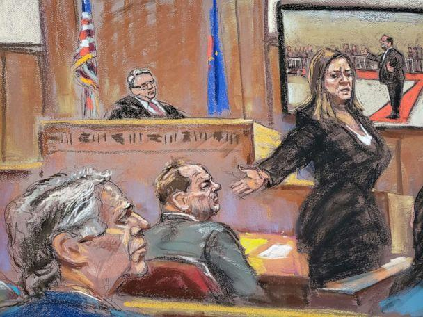 PHOTO: Prosecutor Joan Illuzzi-Orbon gives her closing arguments in front of Judge James Burke at New York Criminal Court for Harvey Weinstein's sexual assault trial in the Manhattan borough of New York City, Feb. 14, 2020 in this courtroom sketch. (Jane Rosenberg via Reuters)