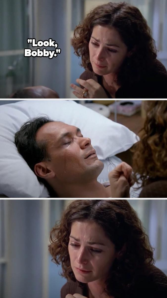 Diane tells Bobby to look, but his eyes close on the hospital bed