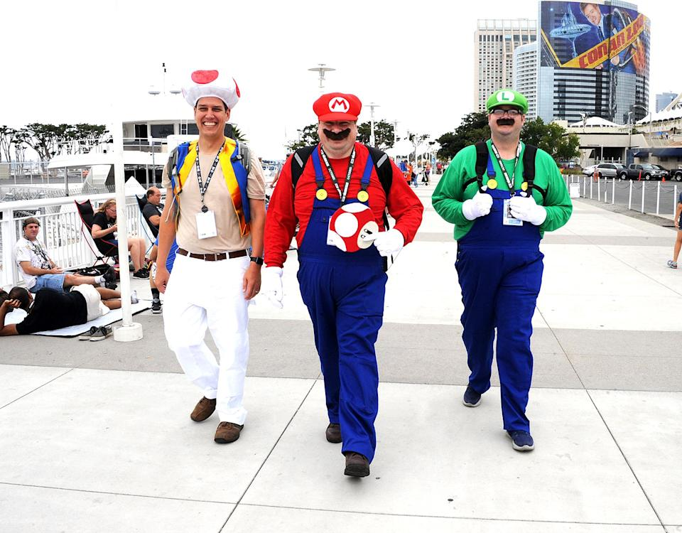 <p>Cosplayers dressed as Toad, Mario, and Luigi at Comic-Con International on July 20 in San Diego. (Photo: Albert L. Ortega/Getty Images) </p>