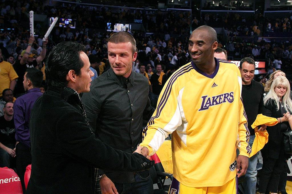 "Becks and Marc congratulate Kobe Bryant after the Lakers beat the Clippers 106-88. Noel Vasquez/<a href=""http://www.gettyimages.com/"" target=""new"">GettyImages.com</a> - November 5, 2008"