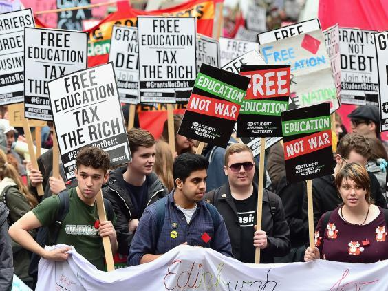 Students during a protest calling for the abolition of tuition fees (PA)