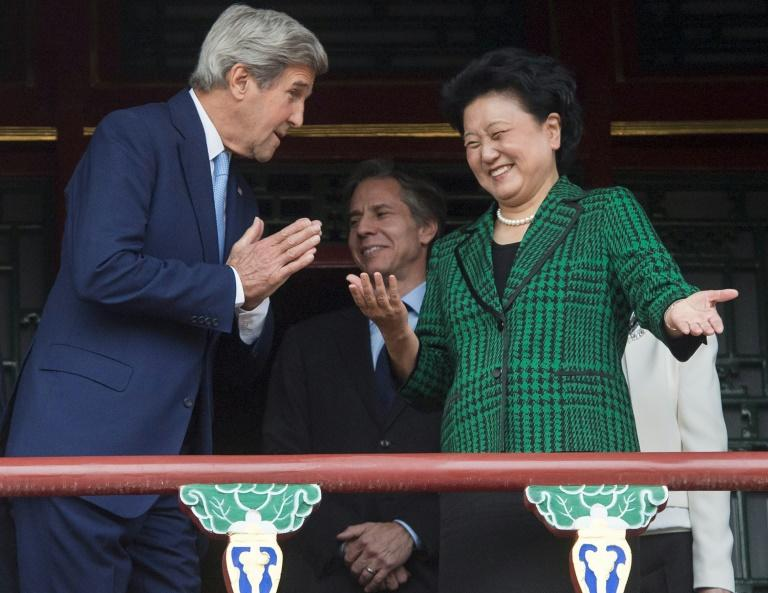 US Secretary of State John Kerry and Chinese Vice Premier Liu Yandong speak during a tour of the Forbidden City's Qianlong Garden in Beijing, on June 5, 2016