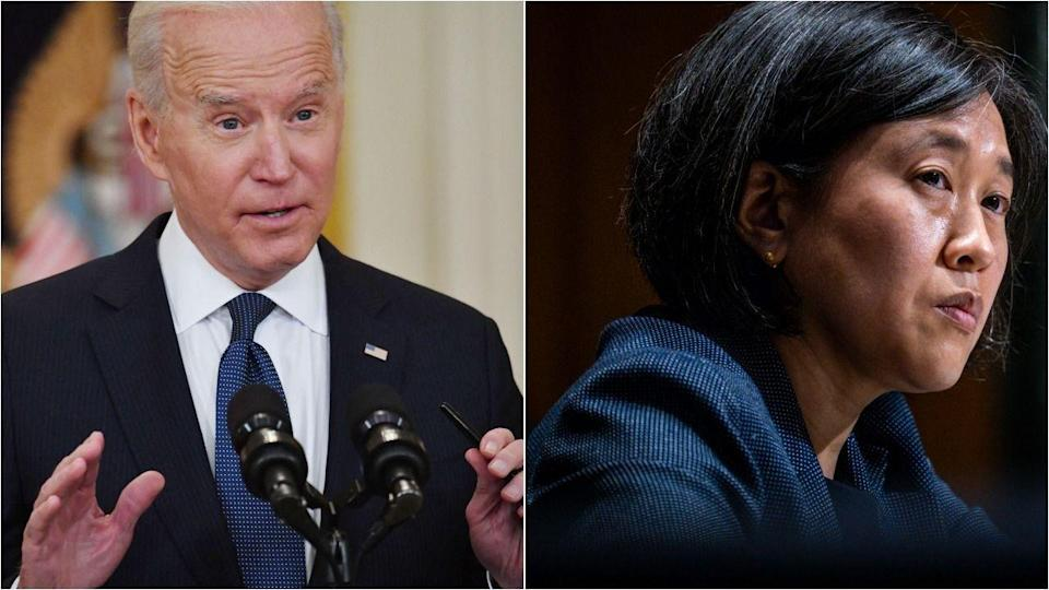 President Joe Biden and U.S. Trade Representative Katherine Tai are under industry pressure to make a COVID-19 vaccine intellectual property waiver as narrow as possible. (Photo: Getty Images)