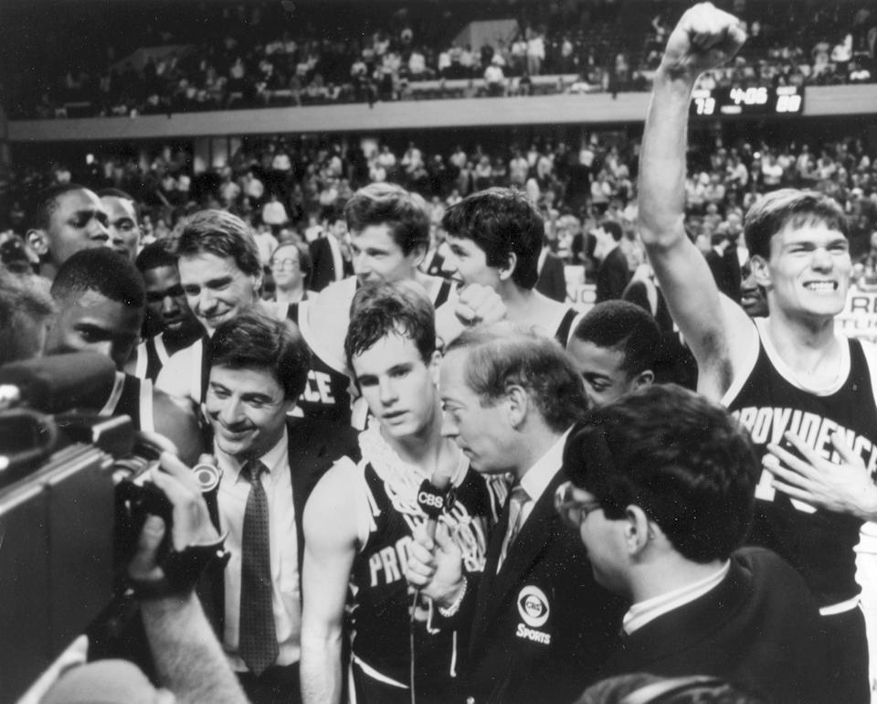 1987 Friars team photo headed to Final Four after defeating Georgetown in Elite Eight. (Providence athletics)