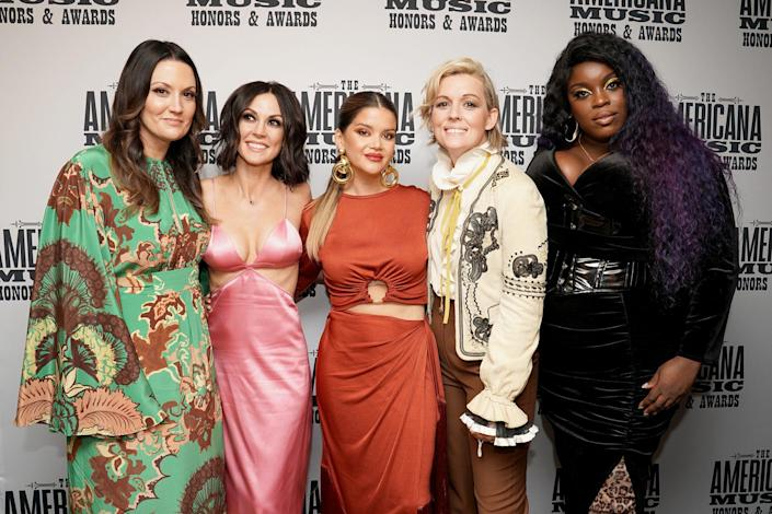 <p>Natalie Hemby, Amanda Shires, Maren Morris and Brandi Carlile of The High Women join singer Yola at the 20th Annual Americana Honors & Awards at Nashville's Ryman Auditorium on Sept. 22. </p>