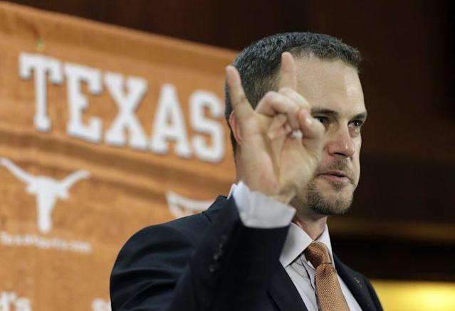 Is this the bogeyman? No, it's Texas head coach Tom Herman, although LSU might say otherwise. (AP)