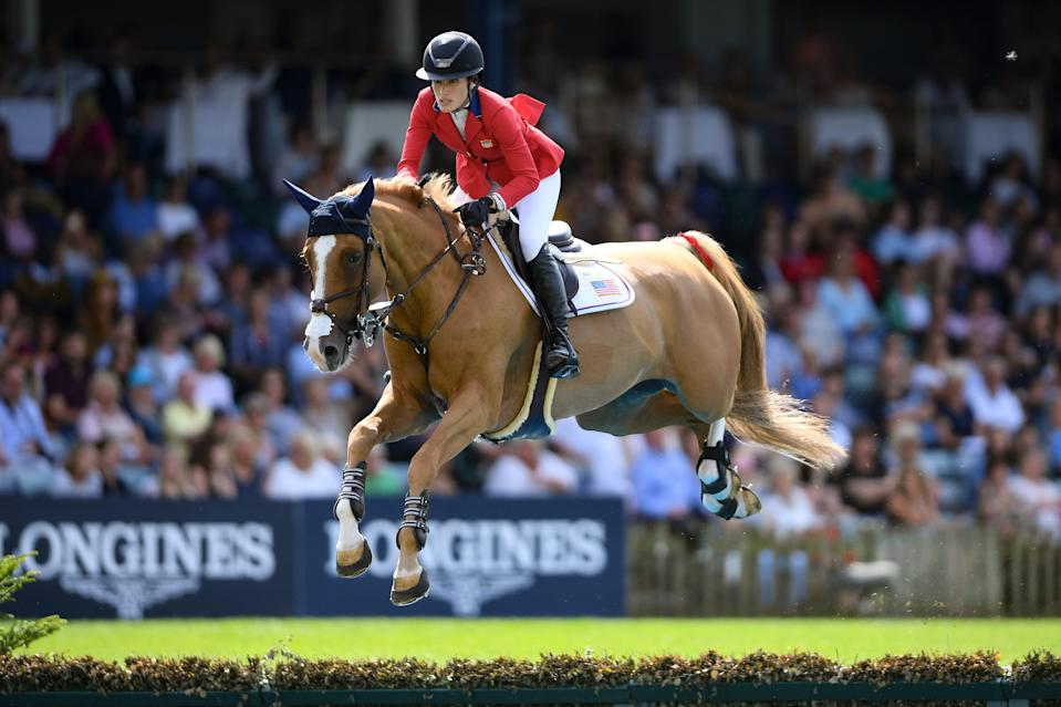 Jessica Springsteen in competition at the Hickstead All England Jumping Course in July 2019. ((Photo by Mike Hewitt/Getty Images))