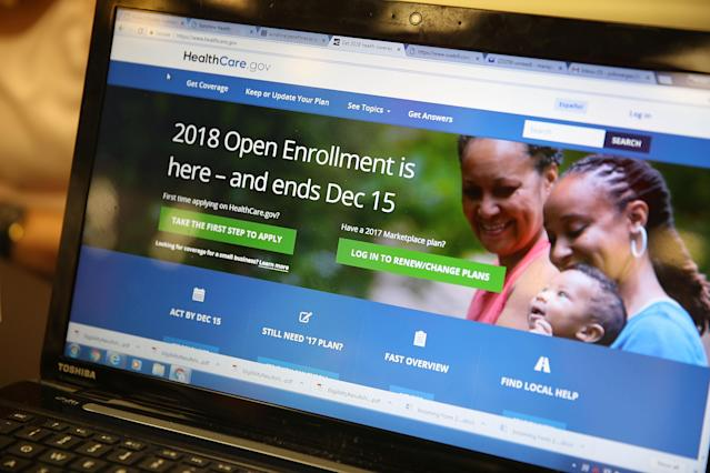 The enrollment page for the Affordable Care Act on Nov. 1. (Photo: Joe Raedle/Getty Images)