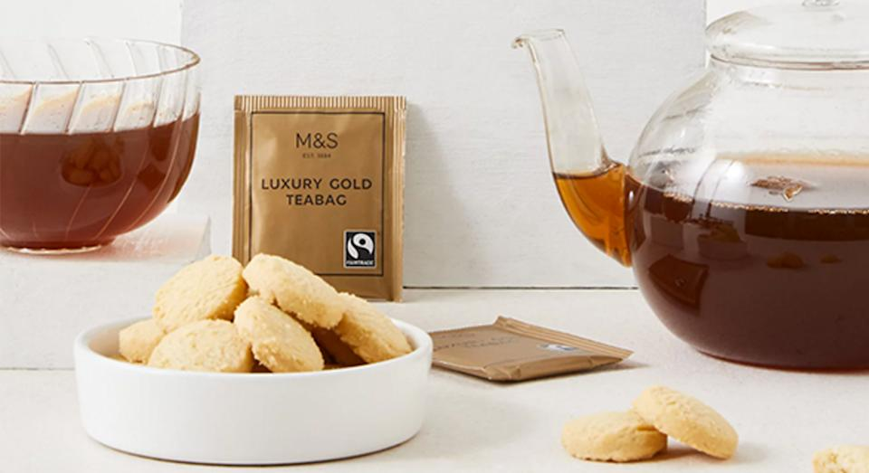 Gold Label Tea with All Butter Shortbread Biscuits. (Marks & Spencer)