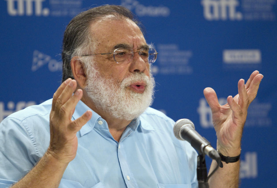 """Director Francis Ford Coppola speaks at a news conference for his film """"Twixt"""" at the 36th Toronto International Film Festival in Toronto September 12, 2011.  REUTERS/Fred Thornhill  (CANADA - Tags: ENTERTAINMENT)"""