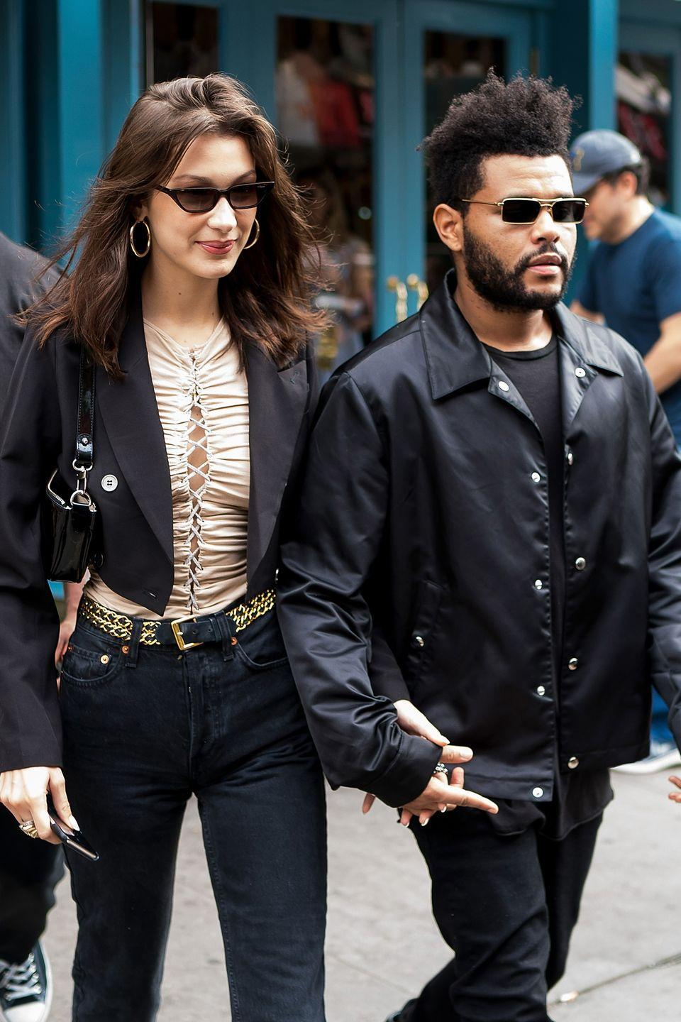 "<p>Top model Bella Hadid and hit singer The Weeknd definitely make one stylish couple. After dating for a year, the two split in 2016, where The Weeknd then <a href=""https://www.harpersbazaar.com/celebrity/latest/a13120861/selena-gomez-the-weeknd-breakup/"" rel=""nofollow noopener"" target=""_blank"" data-ylk=""slk:linked up"" class=""link rapid-noclick-resp"">linked up</a> with Selena Gomez. However, in 2018, Bella and Abel <a href=""https://www.harpersbazaar.com/celebrity/latest/a22705314/bella-hadid-and-the-weeknd-back-together-kylie-21st-birthday-party/"" rel=""nofollow noopener"" target=""_blank"" data-ylk=""slk:rekindled"" class=""link rapid-noclick-resp"">rekindled</a> their romance and have been going strong ever since. <br></p>"