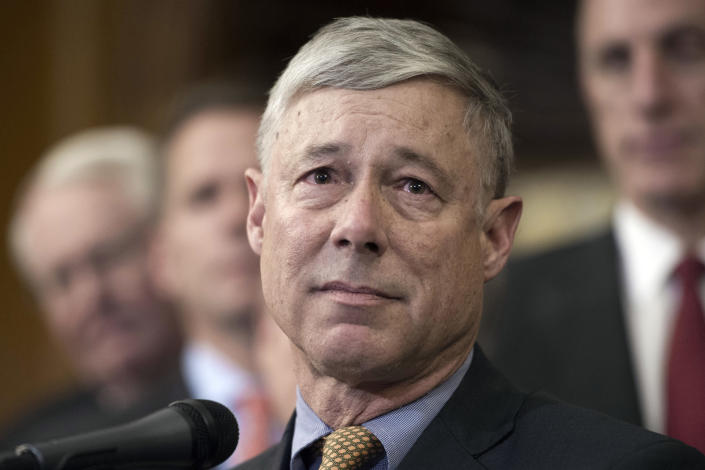 "FILE - In this Dec. 8, 2016, file photo, Rep. Fred Upton, R-Mich., speaks on Capitol Hill in Washington. Upton told reporters Friday on Capitol Hill he has ""not seen any evidence of fraud that would overturn 150,000 and some votes."" (AP Photo/Cliff Owen, File)"