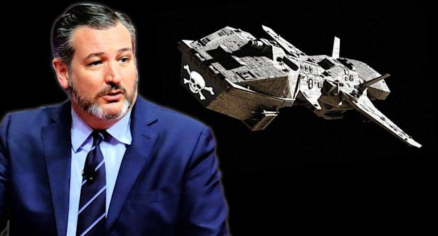 Sen. Ted Cruz and space pirates. (Photo illustration: Yahoo News, photos: Yuri Gripas/Reuters, Getty Images (2))