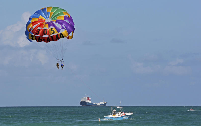 24 2017 Photo Two People Parasail Over The Miami Beach