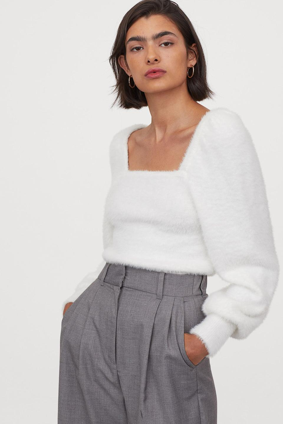 <p>Pair this <span>Puff-sleeved Fluffy Sweater</span> ($30) with some culottes and slingback pumps to accentuate your figure.</p>