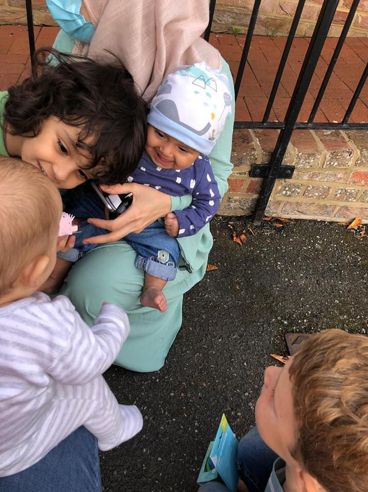 Madiha and brother, Wais, two, with Barney, and Barney's brother, Archer, 6 (Matt Simmons/PA)