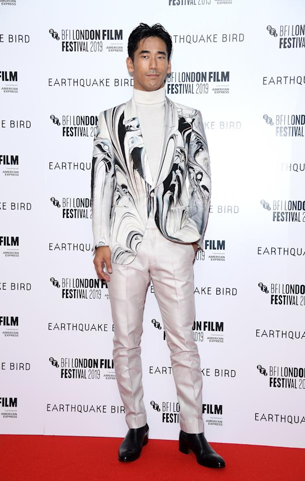 """<p>WHAT: Tom Ford</p> <p>WHERE: The premiere of <em>Earthquake Bird</em> at the BFI London Film Festival</p> <p>WHEN: October 10, 2019</p> <p>WHY: Naoki Kobayashi knows <a href=""""https://www.gq.com/story/big-fit-of-the-day-10-10-19?mbid=synd_yahoo_rss"""">the one, forever-true rule of menswear</a>: wear Tom Ford.</p>"""