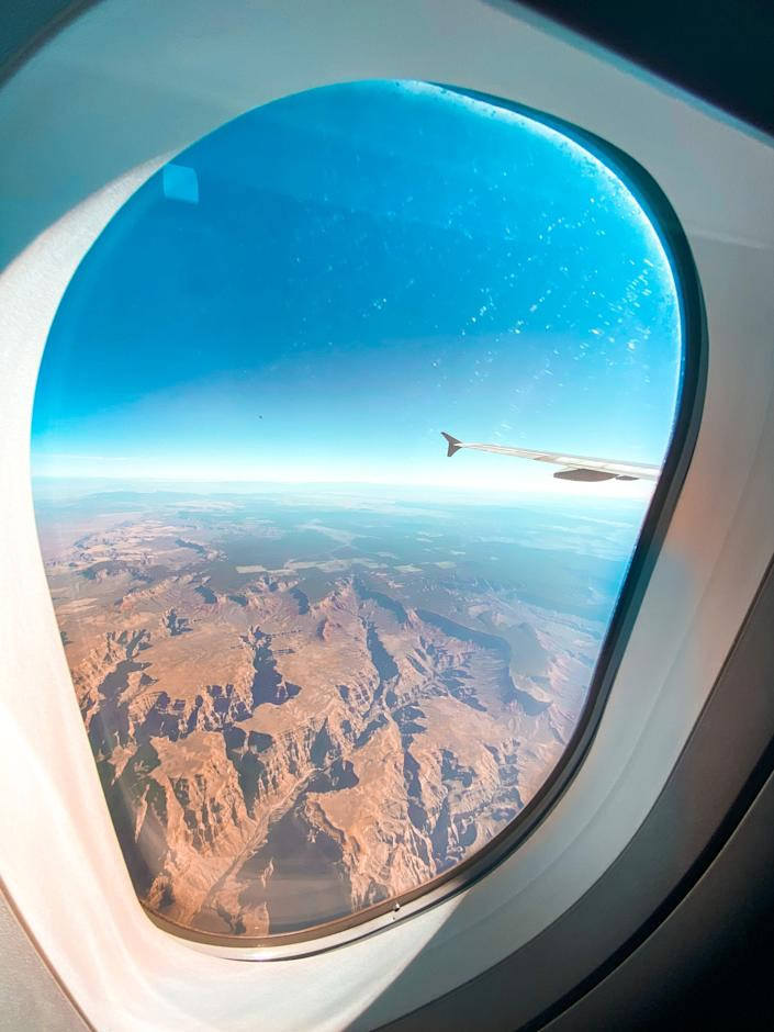 The view from outside of an airplane window