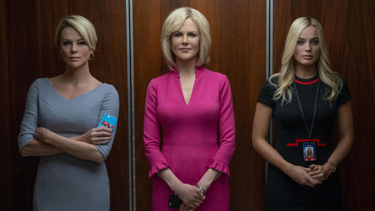 "Three of the finest actors in Hollywood transform themselves for <a href=""https://uk.movies.yahoo.com/tagged/bombshell"">this take on the sexual harassment allegations against Fox News CEO Roger Ailes</a>. Charlize Theron is anchor Megyn Kelly, while John Lithgow portrays Ailes. (Credit: Lionsgate)"
