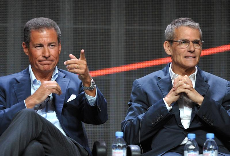 HBO's Richard Plepler, left, and Michael Lombardo appear onstage during HBO's TCA panel at the Beverly Hilton hotel on Wednesday, Aug. 1, 2012, in Beverly Hills, Calif. (Photo by John Shearer/Invision/AP)