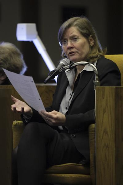 Virginia Tech legal counselor Kay Kurtz Heidbreder testifies in Montgomery County Circuit Court in Christiansburg, Va., Monday March 12 2012. Heidbreder was being questioned by a plaintiff's attorney on her role in a policy meeting the morning of April 16, 2007. (AP Photo / The Roanoke Times, Matt Gentry)
