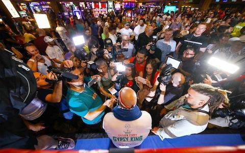 <span>Tyson Fury draws an audience in Las Vegas ahead of fight night</span> <span>Credit: PA </span>