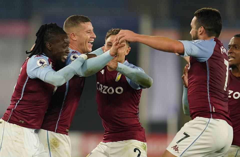 Aston Villa's Ross Barkley celebrates scoring against Leicester City.