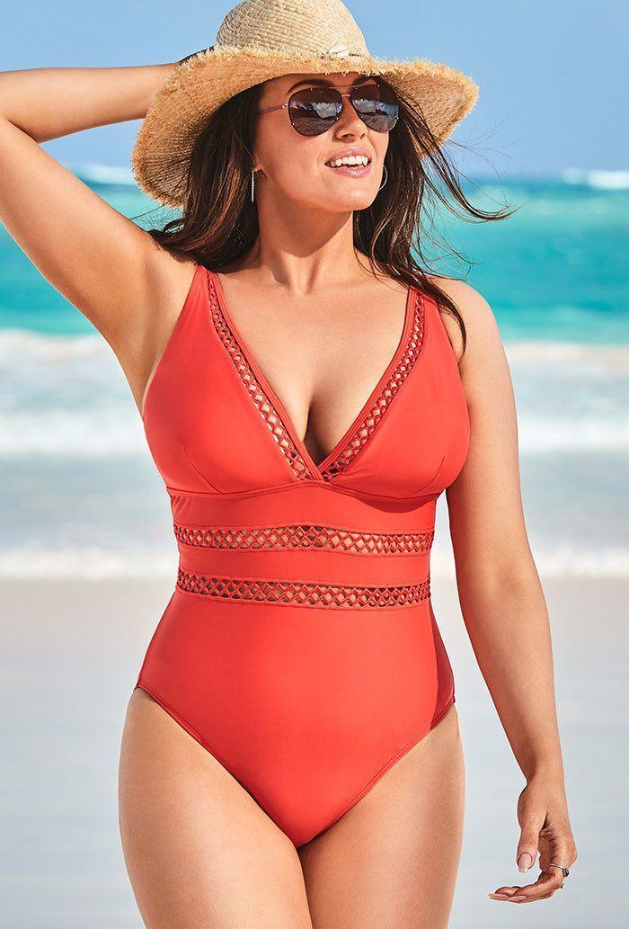 Scarlet Lattice Plunge One Piece Swimsuit. Image via Swimsuits or All.
