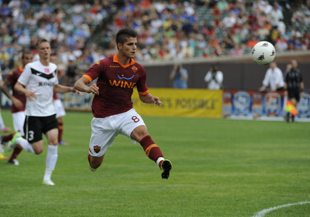CHICAGO, IL - JULY 22: Erik Lamela #8 of A.C. Roma scores a goal against Zaglebie Lubin during the first half of a international friendly match on July 22, 2012 at Wrigley Field in Chicago, Illinois. (Photo by David Banks/Getty Images)