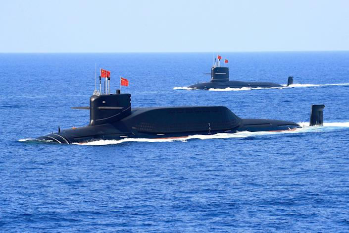 A nuclear-powered Type 094A Jin-class ballistic missile submarine of the Chinese People's Liberation Army's Navy during a 2018 military display in the South China Sea. (Reuters)